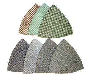 Toolocity 3TRIOSET 3-Inch Triangle Diamond Polishing Pads for Oscillating Multi Tools Set of 7