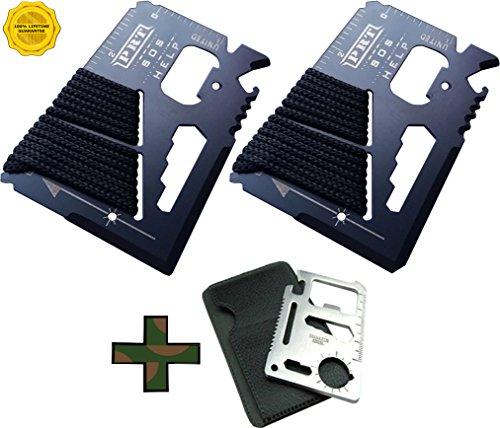 Survival Multi Tool 2 Pack- RumbaDock Survival Gear Tools 14-1 Credit Card Multitool w Bonus Camping Tool- Best SAS Survival Kit Multi-tool Gift- Fishing Survival Kit Multitool