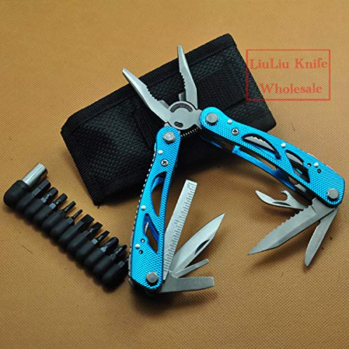 Blue Combination Pliers Multi Functional Outdoor Survival Tool Plier Portable Compact Multitool Crimping Tool Sheath Screw