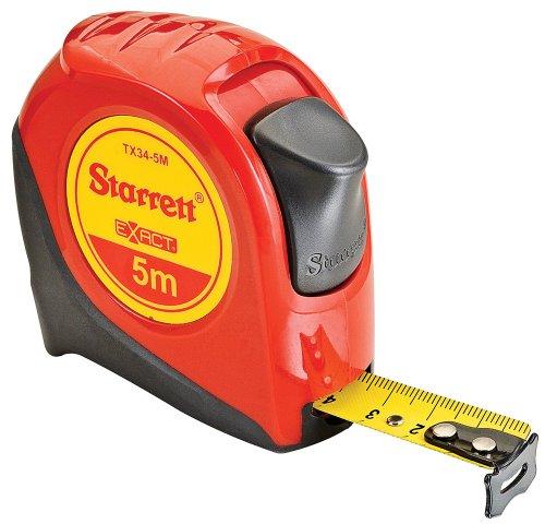 Starrett Exact KTX34-5M-N ABS Plastic Case Red Measuring Pocket Tape Metric Graduation Style 5m Length 19mm Width 1mm Graduation Interval