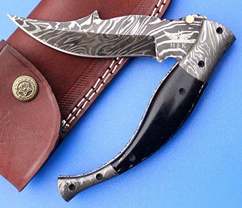HTK-218 Damascus NAVAJO Folder  Pocket Knife  Handmade  Custom  Forged  Bull Horn  Hand Filed Spine  UTILITY