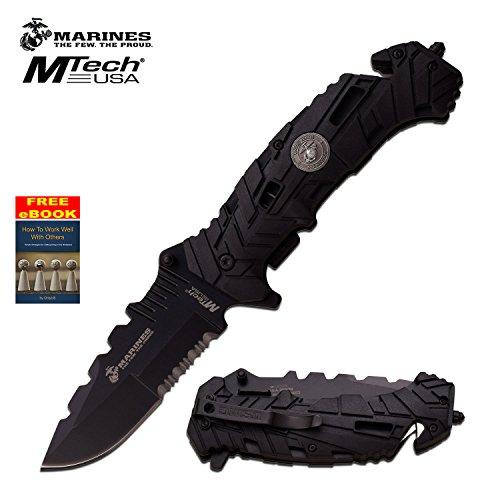 Licensed Mtech Marine Marines Black Rescue Folder Pocket Knife 1049BK  Free eBook by OnlyUS