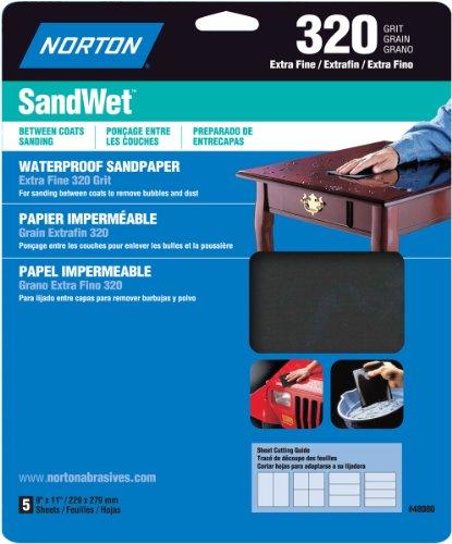 Norton 48080 Sand Wet Sandpaper 320 Grit 9-Inch x 11-Inch 5-Pack