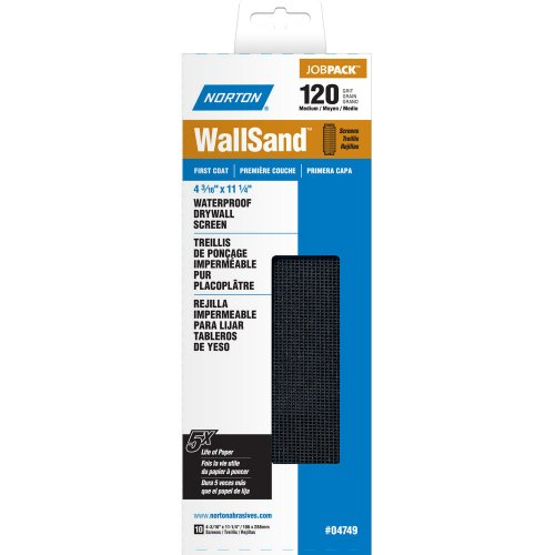 Norton 07660704749 WallSand Drywall Sanding Screen 11-14 Length x 4-316 Width 120 Grit Medium Grade Pack of 10