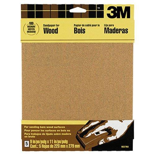 3M Garnet Sandpaper Medium-Grit 9-Inch by 11-Inch 5-Sheet