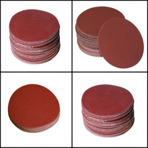 SHINA 50pcs 7 80 GRIT Sanding Discs Velcro Hook Loop Backed Aluminum Oxide Sandpaper