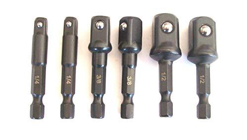 6PC IMPACT POWER EXTENSION 2 BIT SOCKET DRIVER SET FOR SCREW GUN 14 HEX SHANKS SIZES 14 38 12