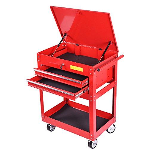GoplusMetal Rolling Tool Cart 2 Drawer Tool Chest Cabinet Storage Tool Box Portable Mechanic Lock