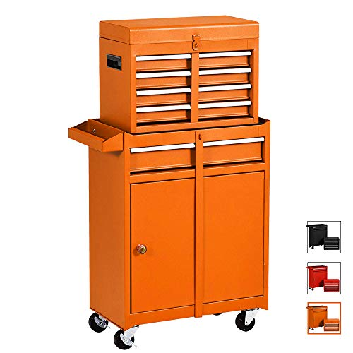 Large Tool Chest With 5 Sliding DrawsDetachable 2 in 1 Tool Cabinet Removable Tool Cabinet With 4 Wheels Lockable System Toolbox Organizer Orange