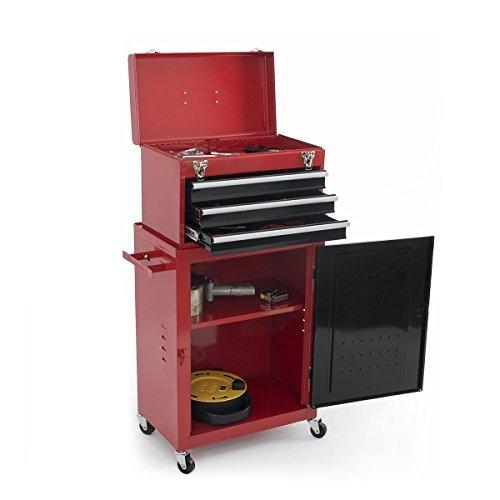 Red 2pc Mini Tool Chest Cabinet Storage Box Rolling Garage Toolbox Organizer