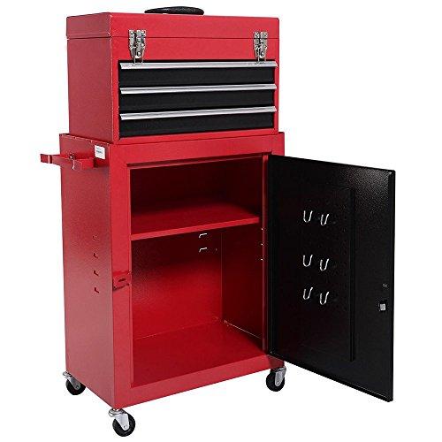 douself 2pc Mini Tool Chest Cabinet Storage Box Rolling Garage Toolbox Organizer