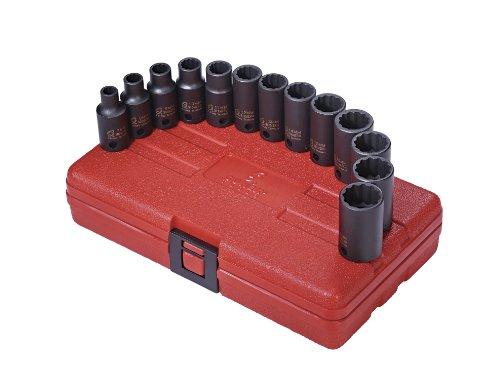 Sunex 3338 38-Inch Drive 12 Point Metric Semi-Deep Impact Socket Set 13-Piece