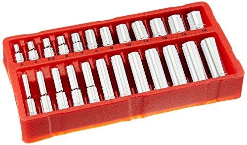 GreatNeck 18622 Metric Socket Set 14 Inch Drive 24-Piece  Homeowner Mechanics Socket Set w Tray  Deep Shallow Sockets Take on Any Job  Chrome-Vanadium Steel for Guaranteed Durability