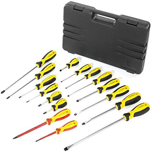 16pc Mechanics Screwdriver Set Cr-v Portable Handy Tool Heavy Duty screw driver