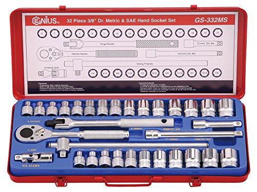 Genius Tools 32 Piece 38 Dr Metric SAE Hand Socket Set GS-332MS
