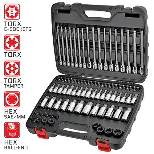 CARBYNE 84 Piece Master Hex Torx Bit Socket Set  SAE Metric S2 Steel Bits  14 38 12 Drive