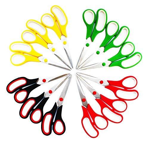 SKKSTATIONERY 85 Inch Scissors Stainless Steel Sharp Blade Comfort-Grip Handles Pack of 12