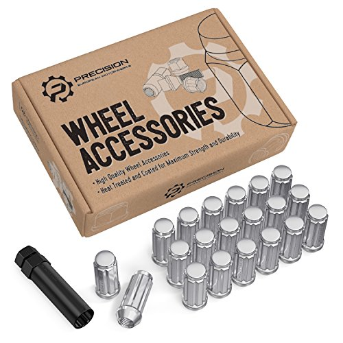 20pcs Chrome Spline Lug Nuts - 916x18 Threads - 2 inch Length - Closed End - Cone Acorn Taper Seat - Includes 1 Socket Key Tool - Works with 5Lug 02-10 Dodge Ram 1500 05-11 Dakota 04-09 Durango
