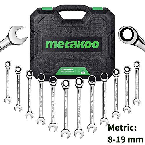 METAKOO Metric Ratchet Wrench Set 12-Piece Metric Ratcheting Wrench Set with Case 72 Tooth Ratchet 8-19 mm Chrome Vanadium Steel - MRWS01