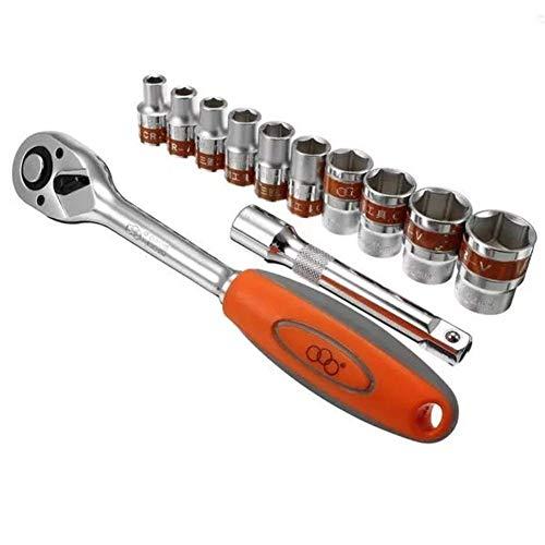 ZXY-NAN Hand Tools 12pcs 12inch 8-24mm CR-V Metric Ratchet Wrench Socket Repair Tool Kit