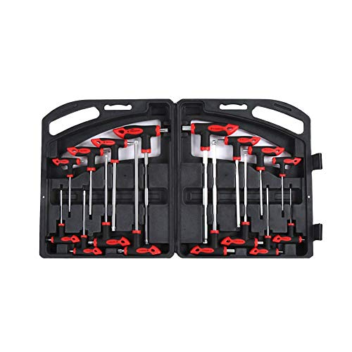 T-Handle Ball Hex Wrench 16 pcs CR-V T-Handle Ball End Hex Key Wrench Set T-Handle Star Wrench Set for Automotive Machinery Electrical Appliances