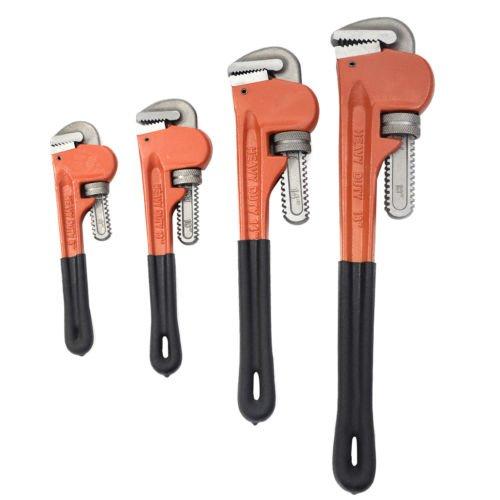 Adjustable Heavy Duty Pipe Wrench Set 4pcs 8 10 14 18 Monkey Heat Treated