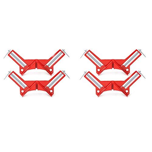 Farmunion 4pcs 90 Degree Right Angle Miter Corner Clamp 3 Capacity Corner Tool Jig Red