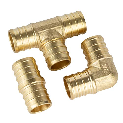 ISPINNER 10pcs 34 inch PEX Straight 4pcs Elbow 4pcs Tee 2pcs Lead Free Brass Barb Crimp Pipe Fittings Pack of 10