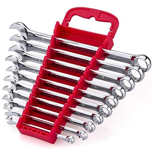 Max Torque 10-Piece Premium Combination Wrench Set Chrome Vanadium Steel Long Pattern Design  Include Metric Sizes 6 8 10 11 12 13 14 15 17 19mm with Storage Rack Organizer