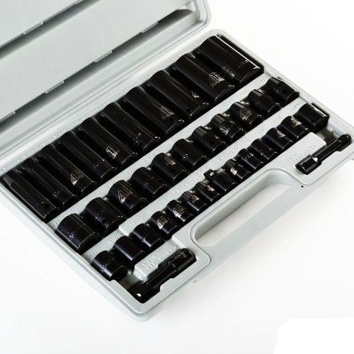 38 PCS 38 12 Drive Combo Impact Socket Set High Impact Tools w Case