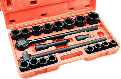 GHP 21-Pc Chrome Vanadium Steel Black SAE Impact Ratchet Socket Tool Set w Case