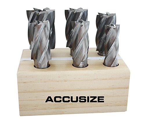 AccusizeTools - 6 Pcs HSS End Mills Set Multi Flute 34 to 1-12 Ground 1822-0206
