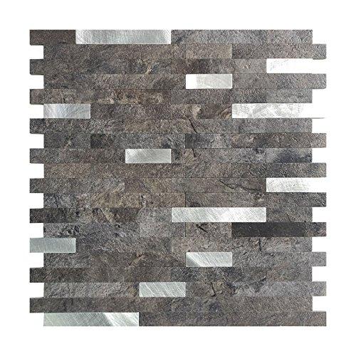 Art3d 12x12 Peel and Stick Backsplash Tile for Kitchen Faux Stone Backsplash 5 Tiles