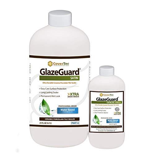 GlazeGuard Satin Floor Sealer Wall Sealer for Ceramic Porcelain Stone Tile Surfaces 1 Qrt - Prof Grade 2 Part Kit