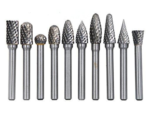 Wokesi 10Pcs38Cutting Diameter146mmShank DiameterSolid Tungsten Carbide File Cutter Taper Points Burrs Grinding Head Fit Dremel Bits Endmills for Rotary Tools 3810mm