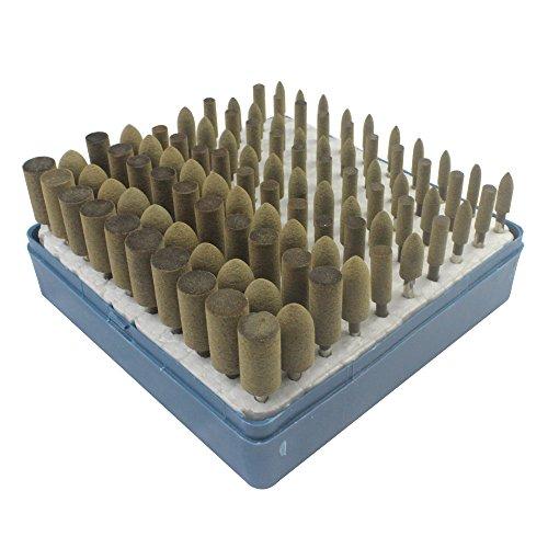 100 Pcs Leather Polishing Head Oval Bullet Taper Rubber Set 3mm Shank Abrasive Grinding Head Buff Wheel Rotary Tools