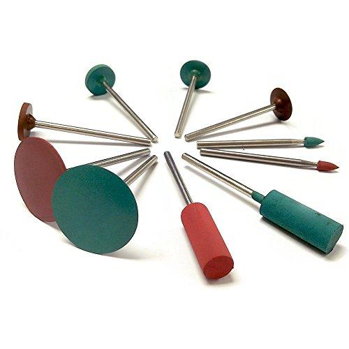 PHYHOO Jewelry Tool Rubber Rotary Tools Polishing Burr Dremel 10pcs Diamond-in-rubber Emery Polishing Bit Set - Fits Dremel - Metal Glass Stone Tile