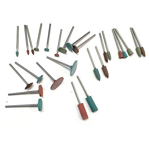 PHYHOO Jewelry Tool Rubber Rotary Tools Polishing Burr Dremel 26pcs Diamond-in-rubber Emery Polishing Bit Set - Fits Dremel - Metal Glass Stone Tile