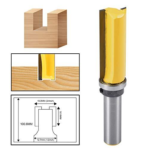 HOHXEN Woodworking Milling Cutter 12 Shank 34 Bit Cutter Top Bearing Flush Trim Pattern Router Bit Steel Handle Milling For Wood Working
