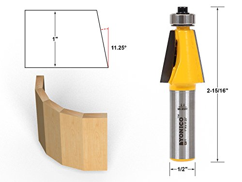 Yonico 13911 1125 Degree Chamfer Bevel Edging Router Bit 12 Shank