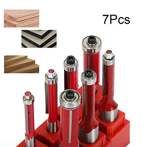 JIUNENG 7 Pcs 12 14 Shank Dual Flute Cutter Flush Trim Router Bits Rotary Tool for Woodworking Blade Dia 6-12mm