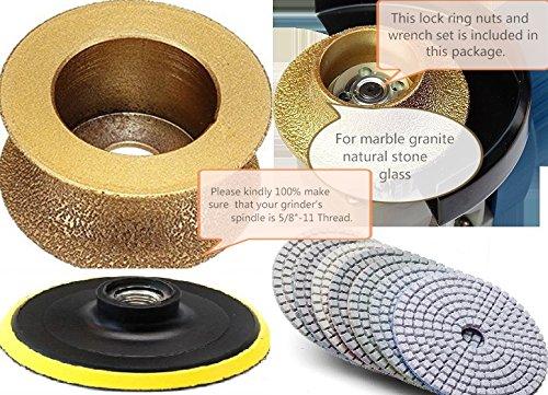 1 14 Full Bullnose Shaping Diamond Router Bit Granite 5 Polishing Pad 121 Piece Concrete Marble Stone Quartz Countertops vanity Top edge fabrication repair refinishing masonry grinding wheel