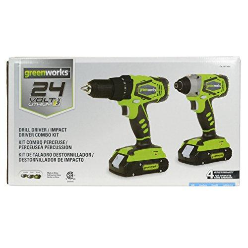 Greenworks CK24B220 24V Lithium MAX Drill Driver  Impact Driver Combo Kit