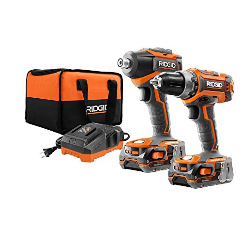 Ridgid R9603 18V Lithium Ion Cordless Brushless Drill Driver and Impact Driver Combo Kit 2 x 15 Amp Hour Batteries 18V Battery Charger and Case Included