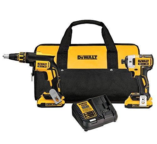 DEWALT 20V MAX XR Drywall Screw Gun Impact Driver Kit 20-Amp Hour DCK267D2