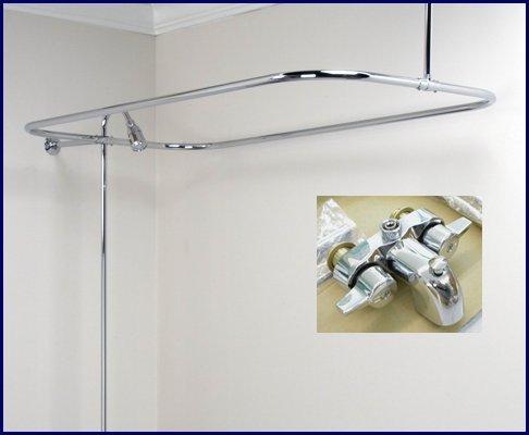 Clawfoot Tub Shower Faucet Rectangular Combo Set