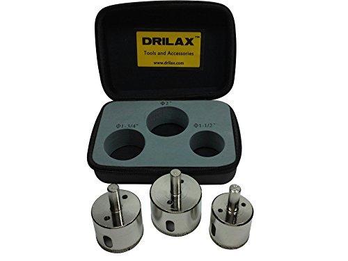 DRILAX 3 Pcs Diamond Drill Bit Set Extra Tall 1-12 1-34 2 for Ceramic Porcelain Tiles Glass Counter Top Marble Granite Quartz Hole Saws Shower Faucet Wet Drilling Tool