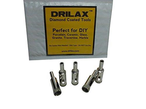 DRILAX 5 Pcs Diamond Drill Bit Set 12 05 in Wet Use for Tiles Glass Fish Tanks Marble Granite Ceramic Porcelain Bottles Quartz Coated Kitchen Bathroom Shower Lamps
