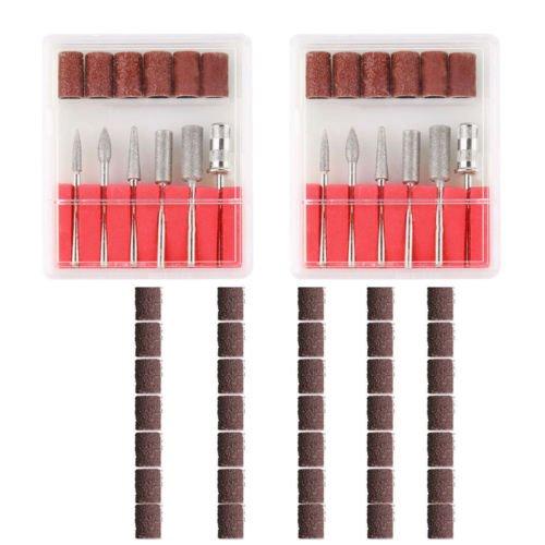 ZFE 2 Set Professional Nail Art Electric Drill Bits 50Pcs Mix Grit Sanding Selleve