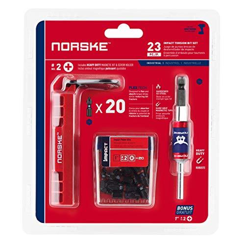 Norske Tools NIBPI704 23Pc 1 Ph No2 Impact Screwdriver Bit Set Including 3 Magnetic Bit Screw Holder